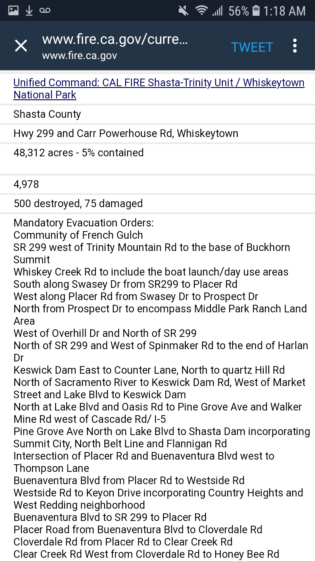 28 July - 11pm Update Carr Fire Evacuation List