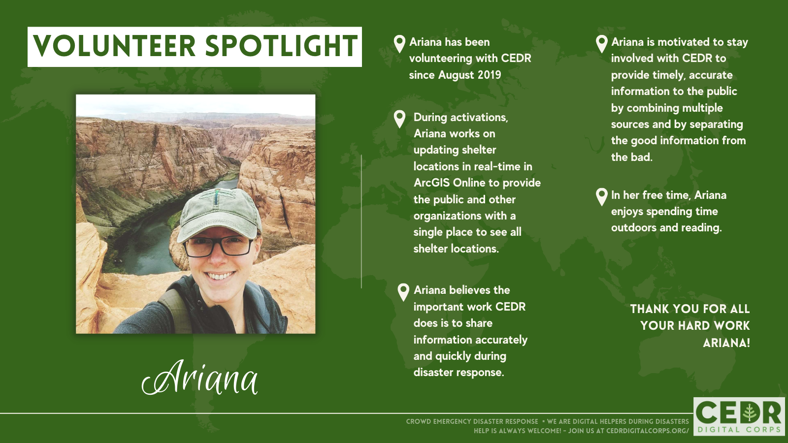 Volunteer Spotlight Ariana Mercer